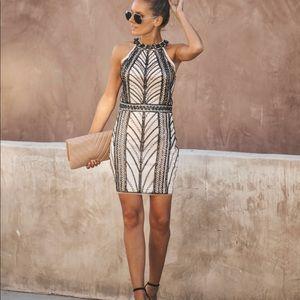Black + Tan Beaded Dress